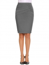 Gray High Waist Solid Slim Pencil Skirt with Lining