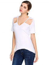 Femmes Femmes Casual V-Neck à manches courtes Solid Shoulder Hollow Out Sexy T-shirt