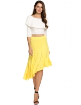 Yellow High Waist Asymmetric Hem Pleated Skirt