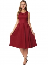 Wine red Vintage Style Sleeveless Bow Solid Casual Dress
