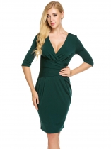 Femmes Vintage Style V-Neck 3/4 Sleeve Ruched Waist Bodycon Party Pencil Dress