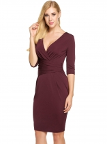 Wine red Vintage Style Surplice Neck Ruched Waist Bodycon Dress