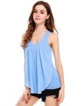 Lake blue Chiffon Satin Patchwork O-Neck Sleeveless Tank Tops
