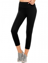 Black Solid High Waist Stretch Tights Sport Yoga Leggings