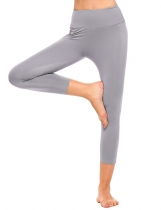 Gray Solid High Waist Stretch Tights Sport Yoga Leggings