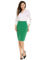High Waist Solid Knee Length Pencil Skirt