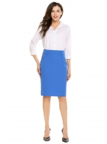 Blue High Waist Solid Knee Length Pencil Skirt