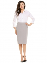 Gray High Waist Solid Knee Length Pencil Skirt
