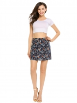 Blue High Waist Printed Mini A-line Skirt