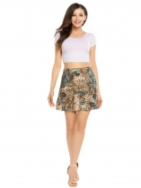Wheat High Waist Printed Mini A-line Skirt