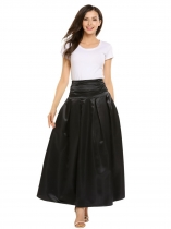 Black High Waist Ruched Large Swing Bubble Skirt