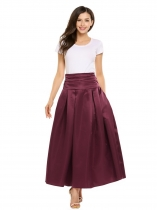 Wine red High Waist Ruched Large Swing Bubble Skirt