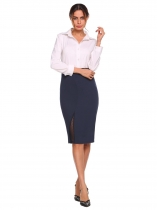 Dark blue Solid High Waist Package Hip Midi Pencil Skirt