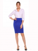 Blue High Elastic Waist Package Hip OL Business Bodycon Mini Jupe en crayon