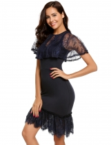 Navy blue Cape Sleeve Lace Bodycon Asymmetrical Mermaid Dress
