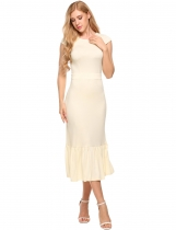Beige Cap Sleeve Ruffles Hem Belted Slim Fit Dress