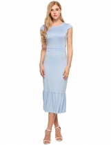 Light blue Cap Sleeve Ruffles Hem Belted Slim Fit Dress
