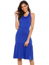 Blue Sleeveless Racerback Solid Ruffled Hem Dress