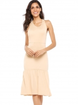 Nude Sleeveless Racerback Solid Ruffled Hem Dress