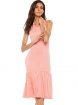 Pink Sleeveless Racerback Solid Ruffled Hem Dress
