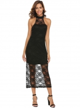 Black Halter Sleeveless Keyhole Lace Party Dress
