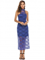 Dark blue Halter Sleeveless Keyhole Lace Party Dress