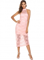 Pink Halter Sleeveless Keyhole Lace Party Dress
