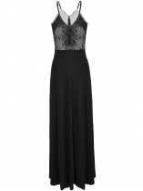 Black Spaghetti Strap Lace Patchwork Prom Evening Gowns Maxi Dress