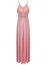 Pink Spaghetti Strap Lace Patchwork Prom Evening Gowns Maxi Dress