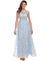Light blue Women's Elegant Cap Sleeve Star Tulle Evening Wedding Bridesmaid Maxi Dress
