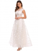 White Women's Elegant Cap Sleeve Star Tulle Evening Wedding Bridesmaid Maxi Dress