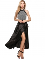 Black Halter Backless Satin Split Party Prom Evening Maxi Dress