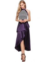 Women's Halter Backless Satin Split Party Prom Evening Peplum Maxi Dress