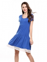 Blue Short Sleeve Lace Trim Casual Loose Fit Tunic Casual Dress