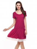 Wine red Short Sleeve Lace Trim Casual Loose Fit Tunic Casual Dress