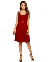 Red Sleeveless Mesh Patchwork High Waist Dress