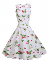 White Vintage Style Sleeveless Cut Out Print A-Line Dress