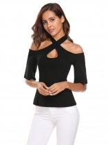 Black Flare Sleeve Halter Cold Shoulder Tops
