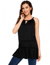 Black Halter Sleeveless Keyhole Solid Loose Fit Tiered Top