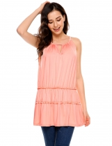 Pink Halter Sleeveless Keyhole Solid Loose Fit Tiered Top