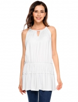 White Halter Sleeveless Keyhole Solid Loose Fit Tiered Top