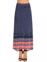Blue Printed Back Zipper Asymmetrical Pleated Hem Maxi Skirt