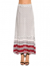 White Printed Back Zipper Asymmetrical Pleated Hem Maxi Skirt