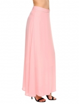 Pink Solid Back Zipper Long Chiffon Swing Skirt