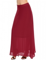 Wine red Solid Back Zipper Long Chiffon Swing Skirt