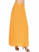 Yellow Solid Back Zipper Long Chiffon Swing Skirt