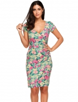 Grey V-Neck Floral Printed Ruched Package Hip Bodycon Dress