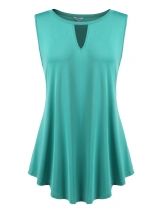 Dark green Soft Hollow Front V Neck Solid Loose Sleeveless Pullover Tank Top