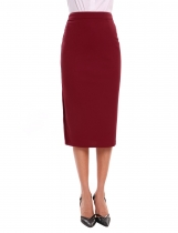 Wine red Casual Side Split Solid Mid Calf Pencil Skirt