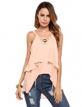 Apricot V-Neck Lace Up Sleeveless Layered Chiffon Tank Tops